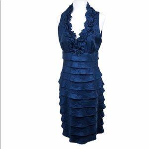 London Times Blue Ruffle Cocktail Dress